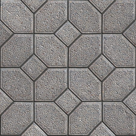 granular: Gray Granular Pavement of Four Hexagons Around the Square. Seamless Tileable Texture.