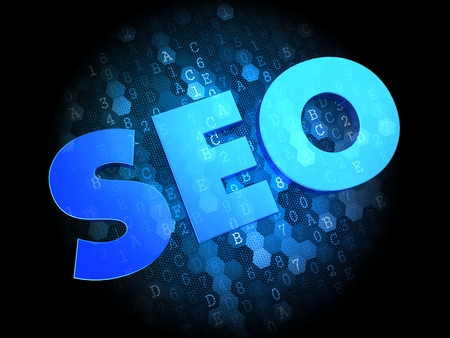 metasearch: SEO - Blue Color Text on Dark Digital Background.