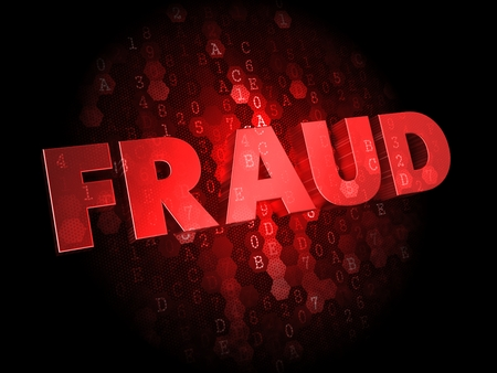 imposture: Fraud - Red Color Text on Dark Digital Background.