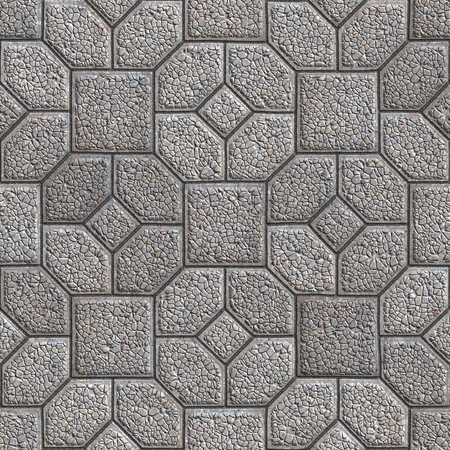 granular: Granular Gray Pavement in the Form of Hexagons as Petals Around the Square. Seamless Tileable Texture.
