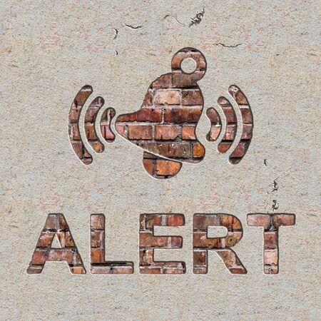 imminence: Concepto Alerta con que suena Bell Icono en el ladrillo y la pared enlucida.
