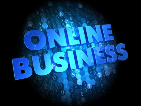 Online Business - Blue Color Text on Dark Digital Background. photo