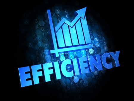 Concept of Growth Efficiency - Blue Color Text on Dark Digital Background.