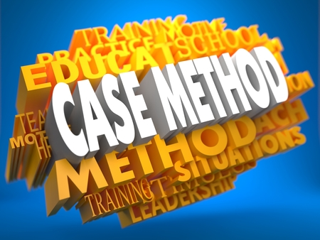 Case Method on Yellow WordCloud on Blue Background.