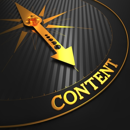 content marketing: Content - Golden Compass Needle on a Black Field Pointing.