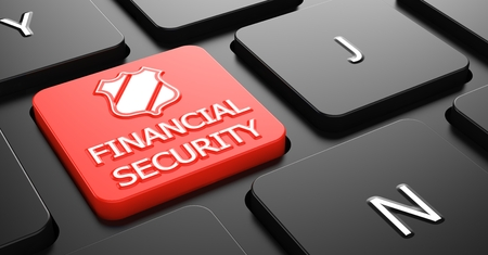 margin of safety: Financial Security on Red Button on Black Computer Keyboard.
