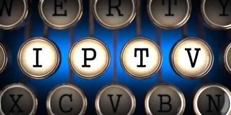 vod: IPTV on Old Typewriters Keys on Blue Background. Stock Photo