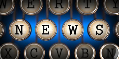 breaking news: News on Old Typewriters Keys on Blue Background. Stock Photo