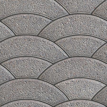 pave: Gray Granular Wavy Arcuate Figured Paving Slabs. Seamless Tileable Texture.