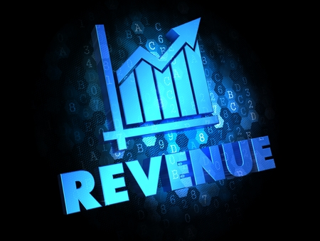 Revenue with Growth Chart - Blue Color Text on Dark Digital Background. photo