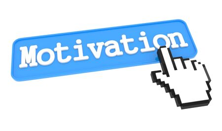 prompting: Motivation - Blue Button with Hand Cursor. Stock Photo
