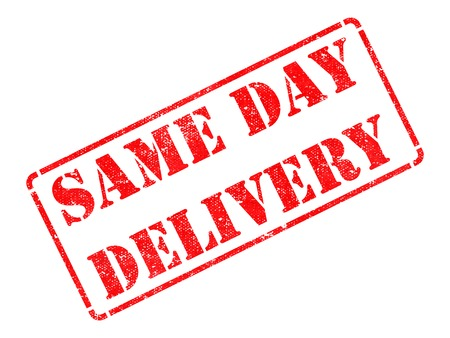 Same Day Delivery on Red Rubber Stamp Isolated on White. photo