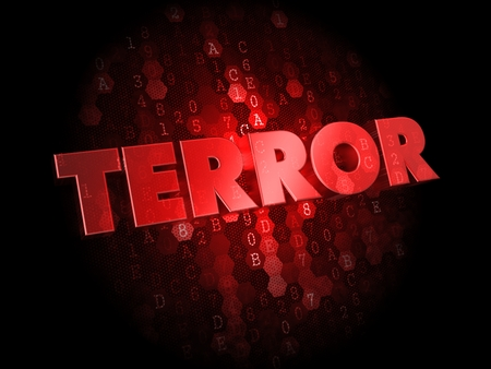 cyberwar: Terror -  Red Color Text on Digital Background. Stock Photo