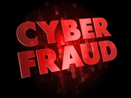 Cyber Fraud -  Red Color Text on Digital Background. Stock Photo