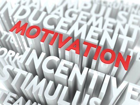 prompting: Motivation - Red Text on White Wordcloud. Stock Photo