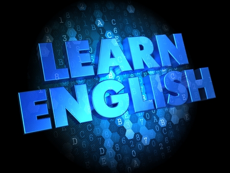 Learn English - Blue Color Text on Digital Background. photo
