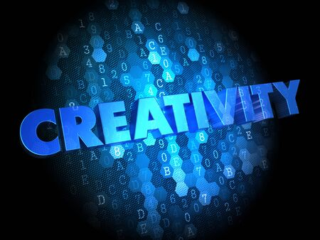originative: Creativity  - Blue Color Text on Digital Background. Stock Photo