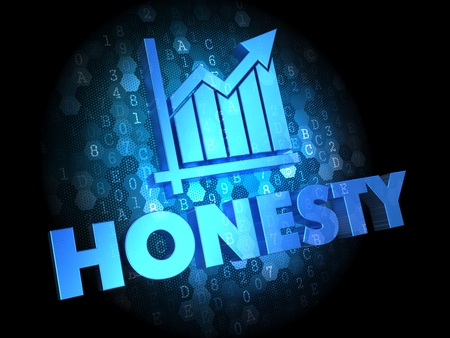 credence: Honesty Concept -  Blue Color Text on Digital Background. Stock Photo