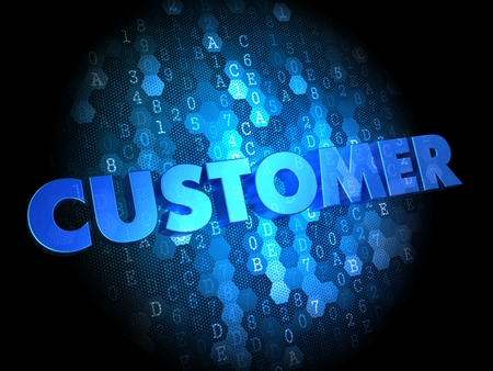 Customer  - Blue Color Text on Digital Background. photo