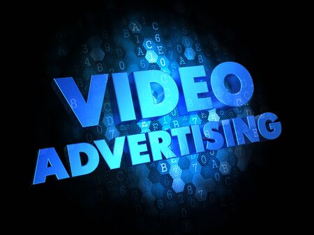 infomercial: Video Advertising - Blue Color Text on Digital Background. Stock Photo
