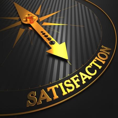 reimbursement: Satisfaction - Golden Compass Needle on a Black Field Pointing. Stock Photo