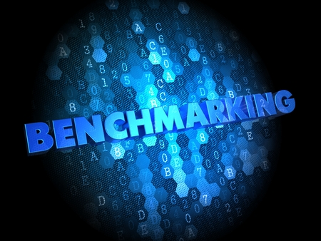 benchmarking: Benchmarking - Blue Color Text on Digital Background. Stock Photo