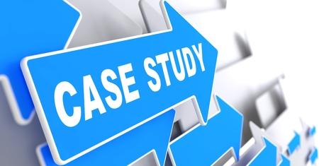 Case Study on Blue Arrow on a Grey Background.