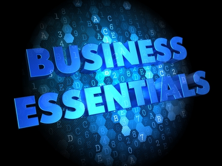 indispensable: Business Essentials -  Blue Color Text on Digital Background.