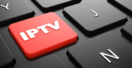 IPTV on Red Button on Black Computer Keyboard.