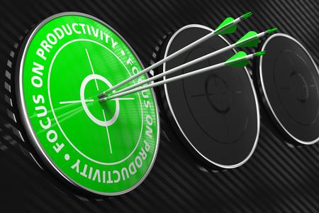 stubbornness: Focus on Productivity Slogan. Three Arrows Hitting the Center of Green Target on Black Background.