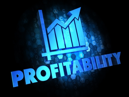 Profitability with Growth Chart - Blue Color Text on Dark Digital Background. photo
