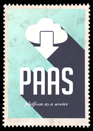 PAAS - Platform as a Service - on light blue background. Vintage Concept in Flat Design with Long Shadows. photo