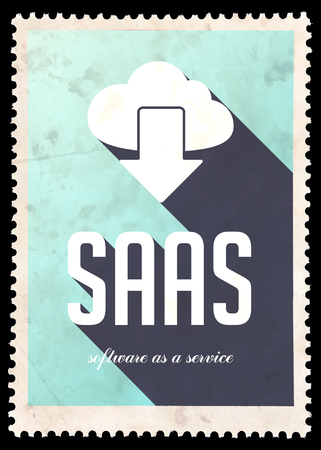SAAS - Software as a Service - on light blue background. Vintage Concept in Flat Design with Long Shadows. photo