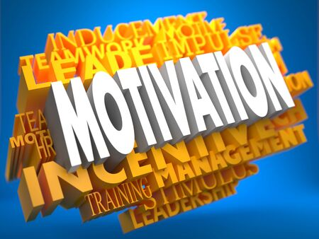 inducement: Motivation on Yellow WordCloud on Blue Background.