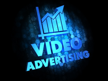 videos: Video Advertising with Growth Chart - Blue Color Text on Dark Digital Background.