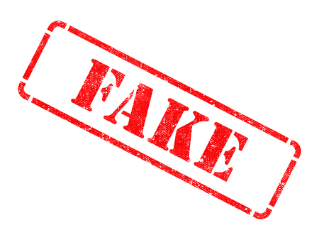 deceitful: Fake - Inscription on Red Rubber Stamp Isolated on White.