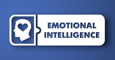 Emotional Intelligence Concept. White Button on Blue Background in Flat Design Style.