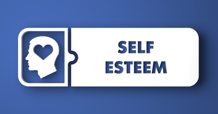 dignity: Self Esteem Concept. White Button on Blue Background in Flat Design Style.