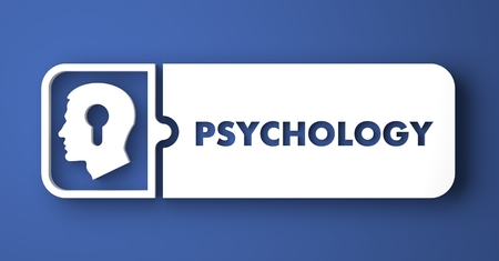 Psychology Concept. White Button on Blue Background in Flat Design Style. photo