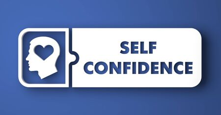 self confidence: Self Confidence Concept. White Button on Blue Background in Flat Design Style. Stock Photo