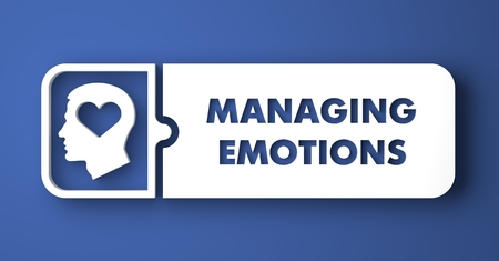 managing: Managing Emotions Concept. White Button on Blue Background in Flat Design Style.