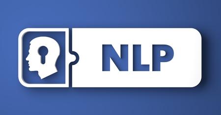 NLP 개념입니다. 플랫 디자인 스타일에 파란색 배경에 흰색 버튼. 스톡 콘텐츠