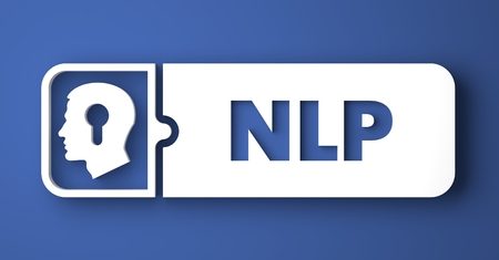 NLP Concept. White Button on Blue Background in Flat Design Style. Stock Photo