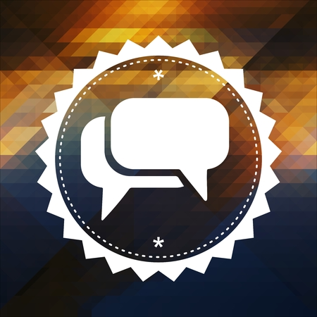 Speech Bubble Icon. Retro label design. Hipster background made of triangles, color flow effect. photo