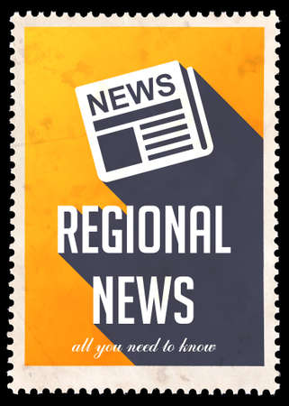 zonal: Regional News on Yellow Background. Vintage Concept in Flat Design with Long Shadows.