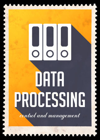 avail: Data Processing on Yellow Background. Vintage Concept in Flat Design with Long Shadows. Stock Photo