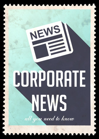 Corporate News on Blue Background. Vintage Concept in Flat Design with Long Shadows. photo