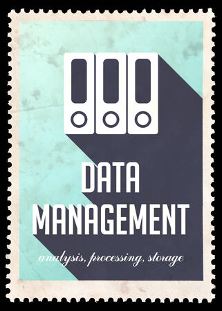 avail: Data Management on Blue Background. Vintage Concept in Flat Design with Long Shadows.