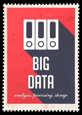 avail: Big Data Concept on Red Background. Vintage Concept in Flat Design with Long Shadows.