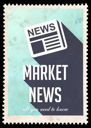 Market News on Light Blue Background. Vintage Concept in Flat Design with Long Shadows. photo